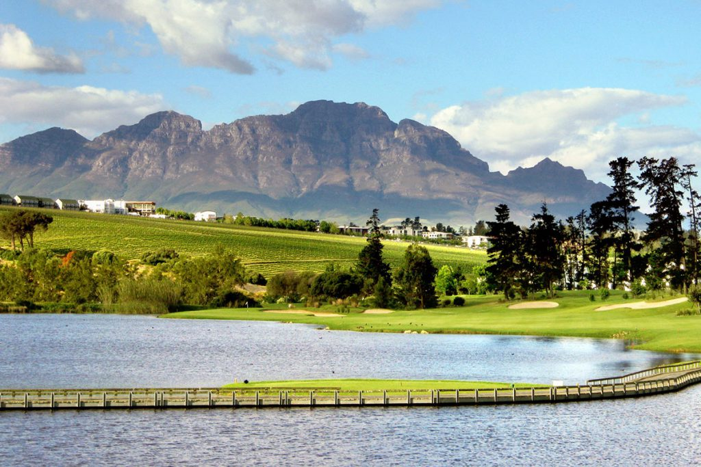De Zalze Golfkurs, Ausblick auf See und Fairway